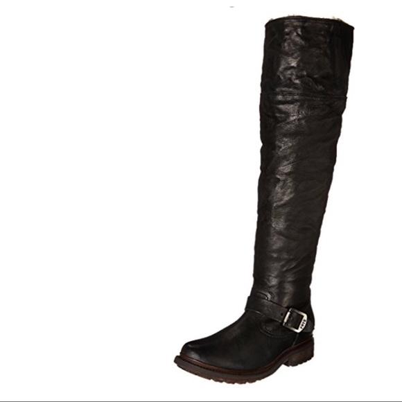 8068a3106a7 Frye Valerie Shearling OTK Black Boots 9M